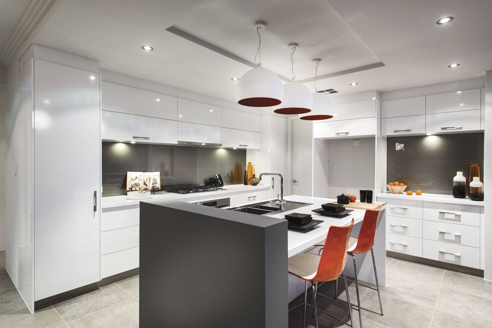 soho amelia display home kitchen with white cupboards and tiled floor