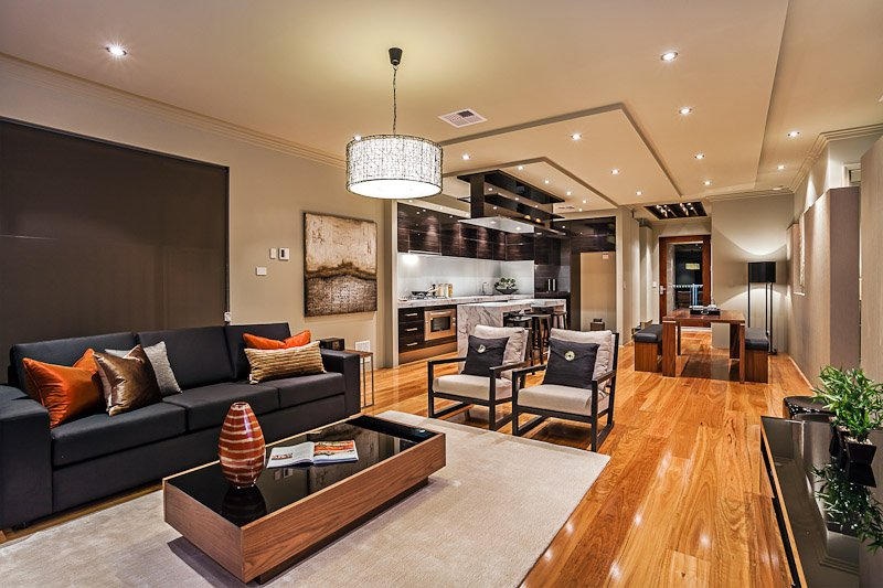 modern and luxurious open plan living room with kitchenette and dining room