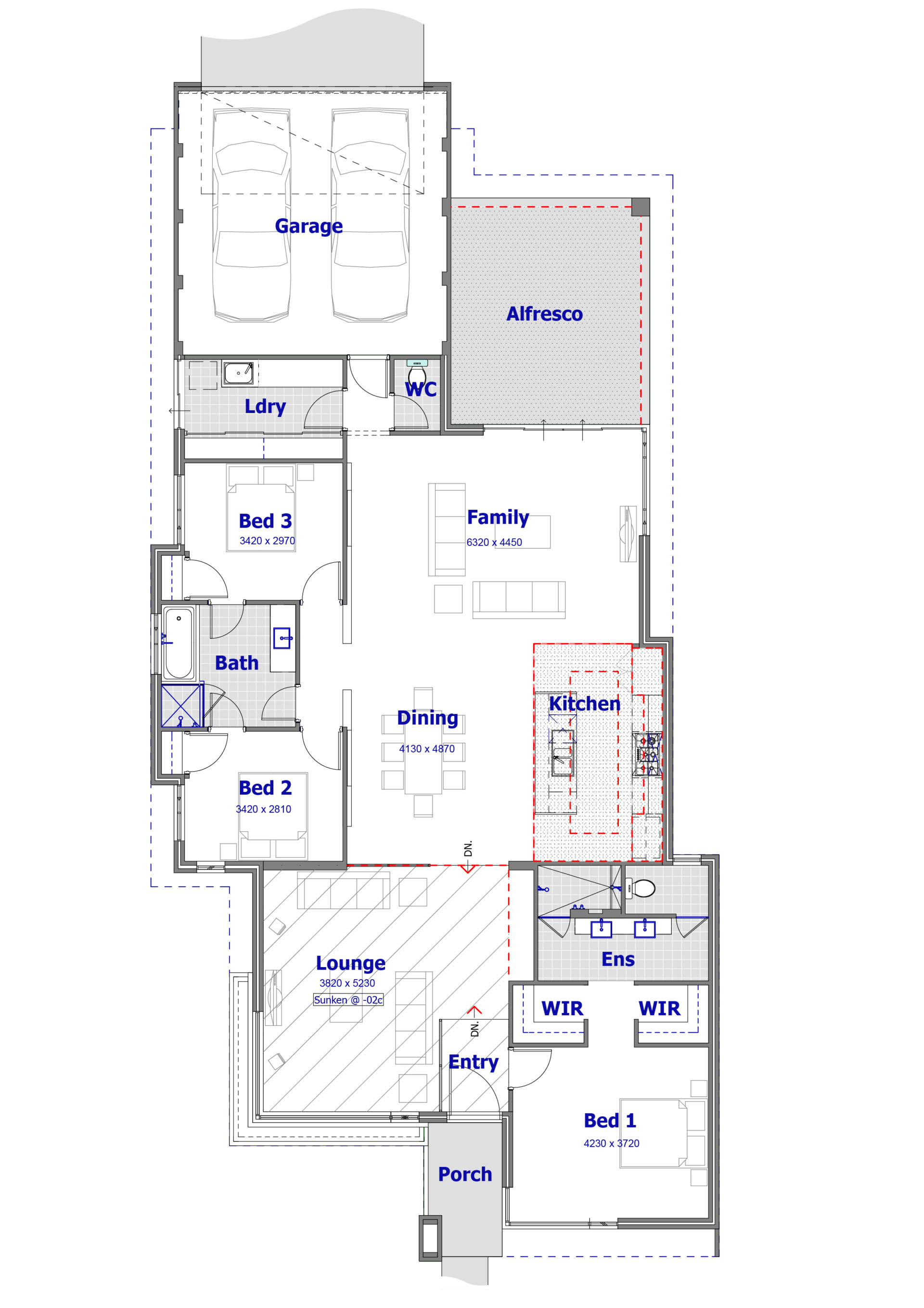the architectural plan of the daisy house design with the furniture in the drawing view. Top. Accommodation with kitchen, living room, bedroom amd garage
