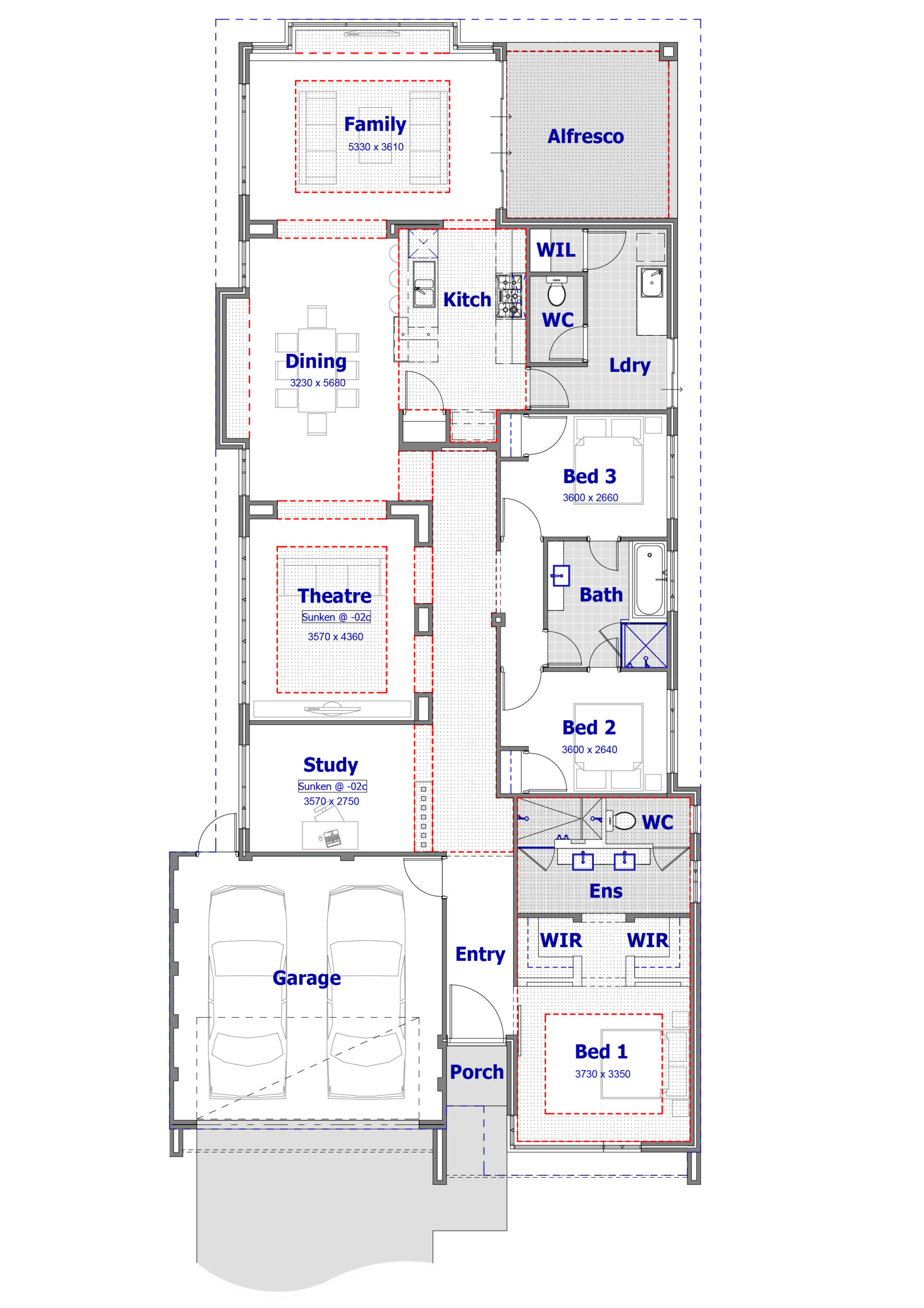 top view of architectural project of home interior design