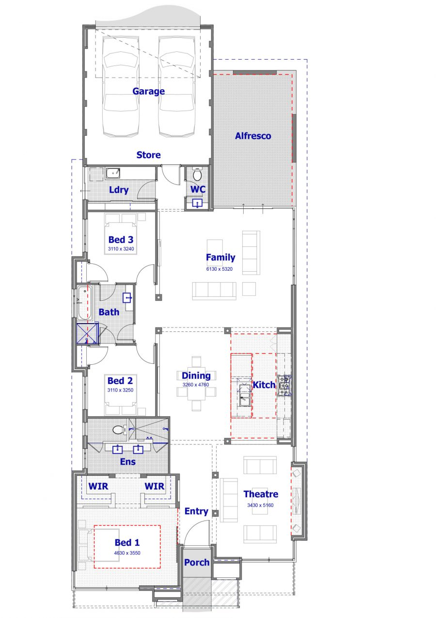 House interior. Black and White floor plan of a modern house