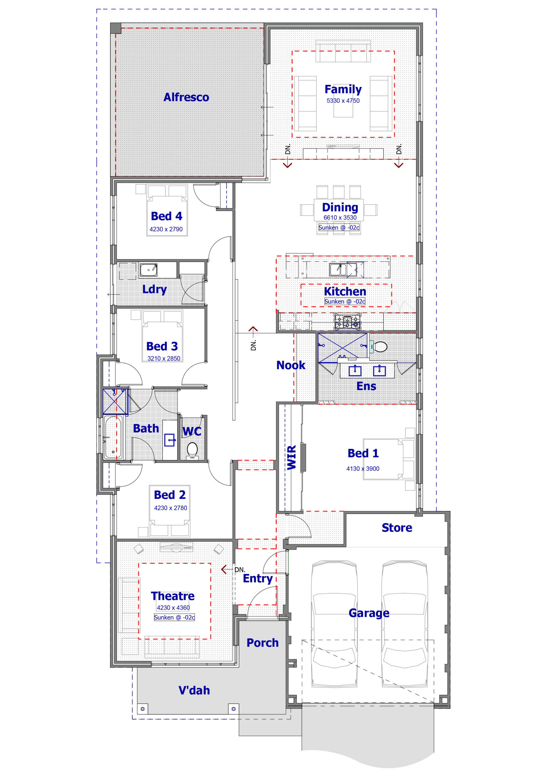 floor plan of the diamond home design on a white background